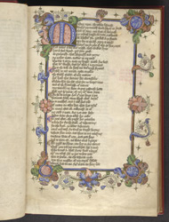 Illuminated Initial And Borders, In John Lydgate's 'The Story Of Thebes', And Thomas Hoccleve's 'The Regiment Of Princes' f.34r